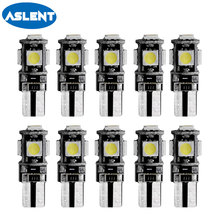 Aslent 10X T10 Canbus Decoder White 5smd Car Light W5w 194 168 Error Bulbs 12V Wedge Lamp Parking Bulb Band  Sign Trun 12v
