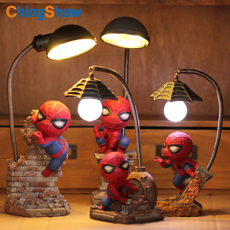 Spiderman LED Night Light The Avengers Action Resin Lamp Children Bedroom Baby LED Night Lamp for Boy Kid Creative Gift creative cute green cartom car led night light for children baby kids white warm white bedside lamp resin night lamp gift
