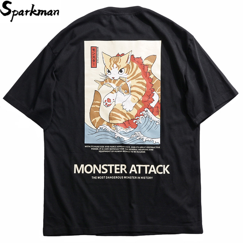 2019 Harajuku estilo Japón divertido T camisa gato monstruo hombres Hip Hop camiseta verano Streetwear camisetas de algodón de manga corta Tops camisetas