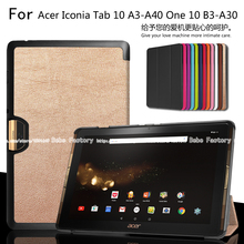 Ultra Slim Magnetic 3 Fold Stand PU Leather Cover Protective Case For Acer Iconia One 10 B3-A30 Tab 10 A3-A40 10.1