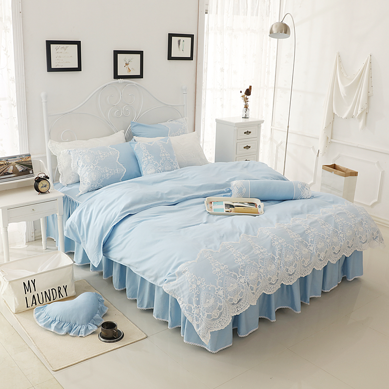 girls kids adults bedding set cotton lace twin full queen king size bed set pink blue purple. Black Bedroom Furniture Sets. Home Design Ideas