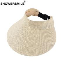 SHOWERSMILE Straw Visor Cap Female Beige Wide Brim Tennis Women Breathable Ladies Golf Sun Protection Hat