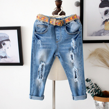 2017 Spring Autumn Elastic Waist Children Denim Pants + Belt  Kids Boys Jeans Hole Casual Leggings For Baby Girls Jeans Blue (Copy)
