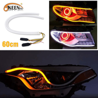 OKEEN 2x 23inch Dual Color LED Strip Tube White Amber Switchback Headlight DRL Turn Signal Light Motorcycles Car Headlight 60CM