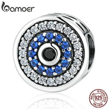 BAMOER Real 100% 925 Sterling Silver Blue Crystals Eyes Round Bead Charms Fit Women Charm Bracelets & Bangles Jewelry SCC092(China)