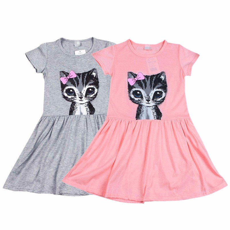Hot Sale New 2017 Summer Girl Dress Cat Print Grey Baby -3590