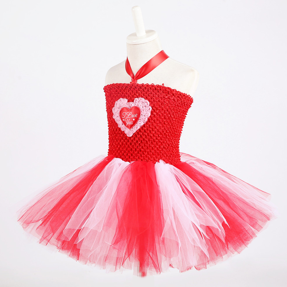 Red White Queen of Hearts Fancy Dress Costume Valentine\`s Day Knee Length Heart Pattern Tutu Dress Princess Dress for Girls 1-14 (3)