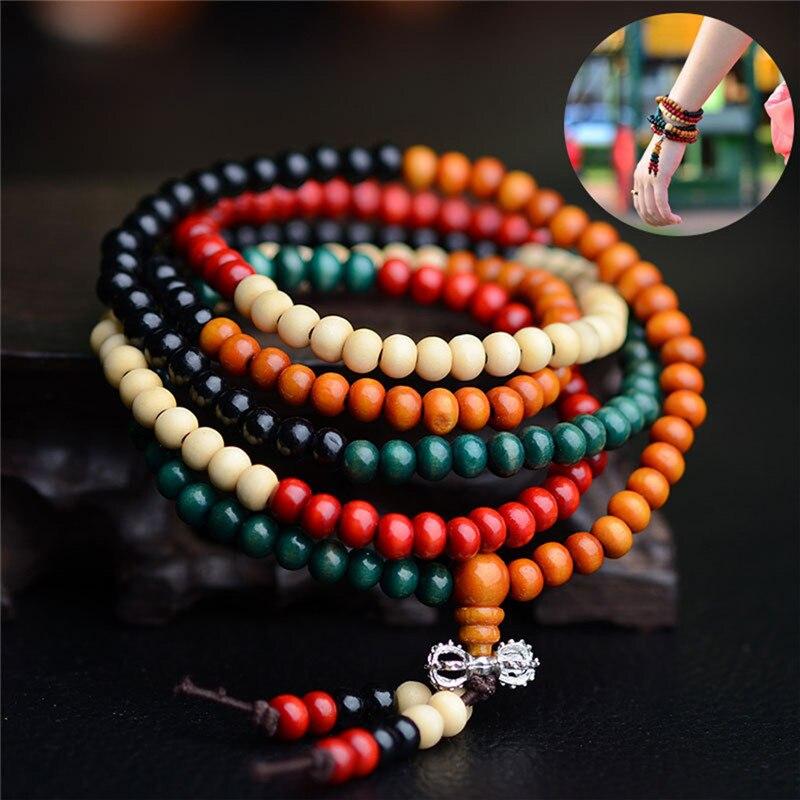 108 Beads 8mm Natural Sandalwood Buddhist Buddha Wood Prayer Bead Male Unisex Men Bracelets & Bangles Jewelry Bijoux