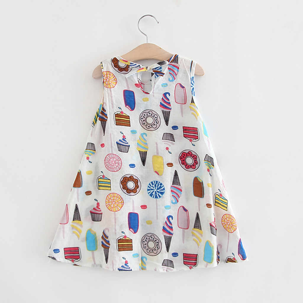 Toddler Baby Girl Dress Sleeveless Ice Cream Cake Print Dresses Casual Kids Dresses For Girls Baptism Dress Vestido Infantil