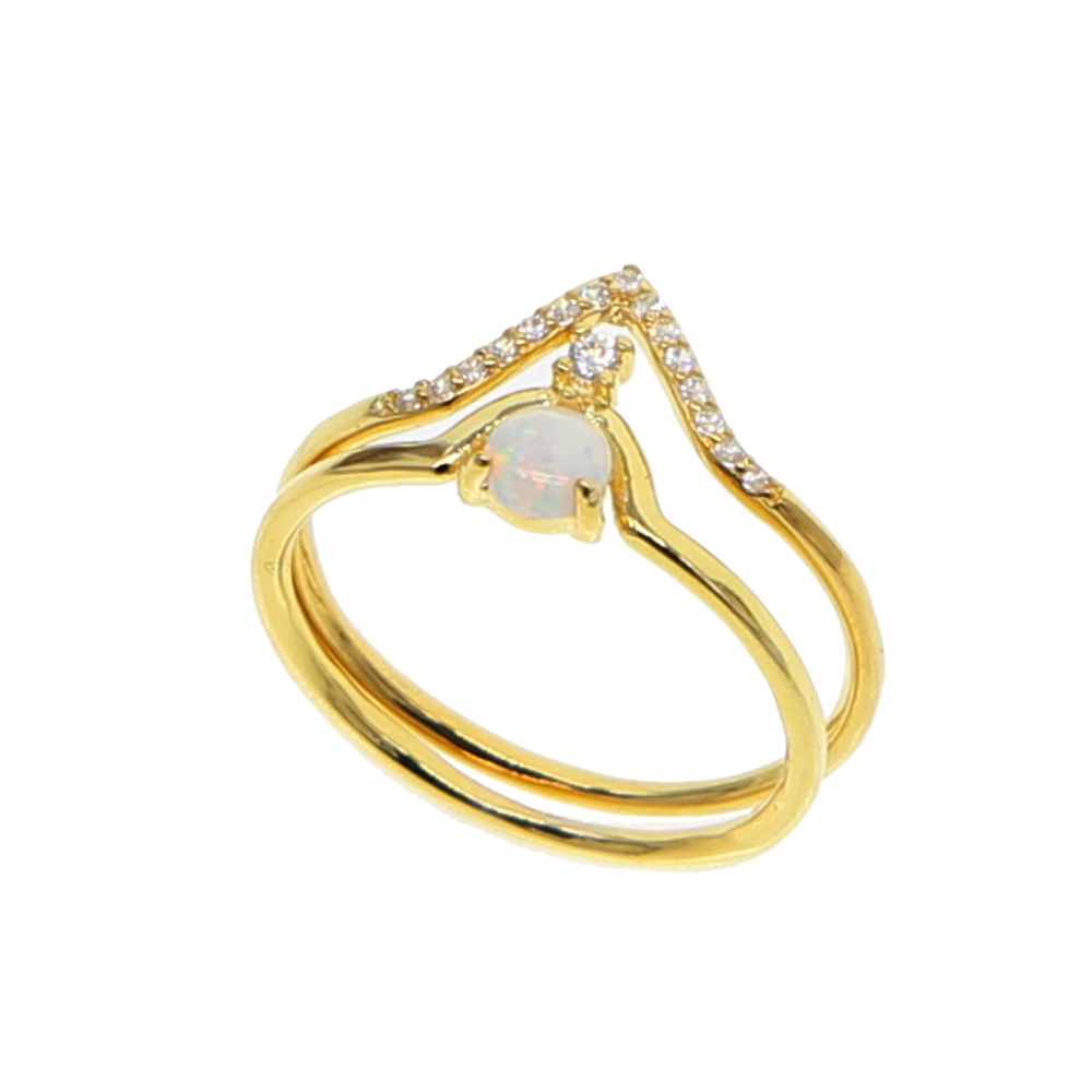 2018 New Fashion Double V shape Rings For Women's Gift Simple Geometric white fire opal Dainty Rings Femme Jewelry midi ring