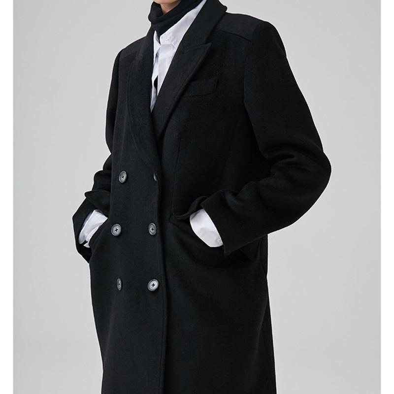 Bref Long Black Ji864 2019 Mode Noir Femmes Double Boutonnage À De Manteau Printemps Longues Manches eam Nouveau Marée Laine Revers Lâche 40BRfwwqAO