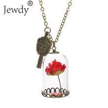 Beauty and the Beast Necklace Rose in Terrarium Pendant His Beauty/Her Beast Valentines Day,Fairy Tale Movie Victorian Jewelry(China)