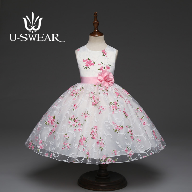 U-SWEAR 2019 New Arrival Kid Flower Girl Dress Pink Flower Print Sashes Chiffon Sleeveless Pageant Dresses For Girls Vestidos