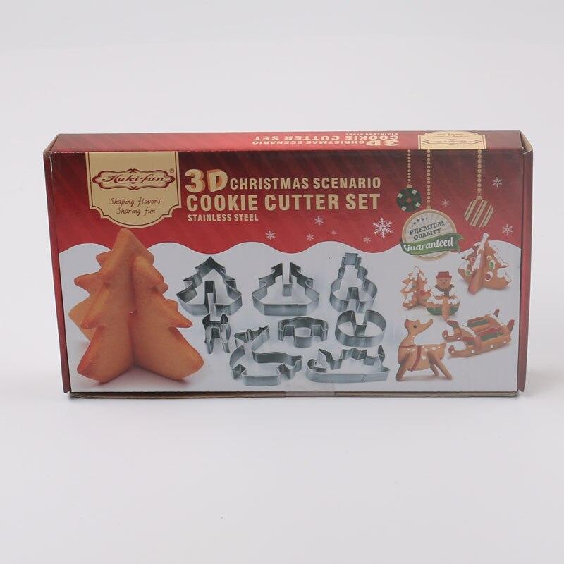 Dropshipping desear 8 Pcs 3D De Noël Scénario Cookie Cutter Set de Décoration de Gâteau de Biscuit En Acier Inoxydable Moule Fondant Cutter