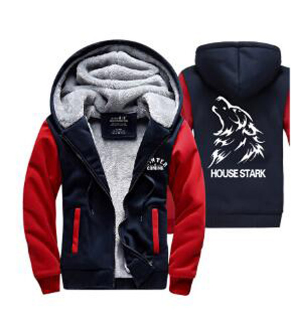 Hot 2017 New fashion American Game of Thrones black Hoodie Logo Winter thick jacket Fleece Mens long sleeve Sweatshirts clothing