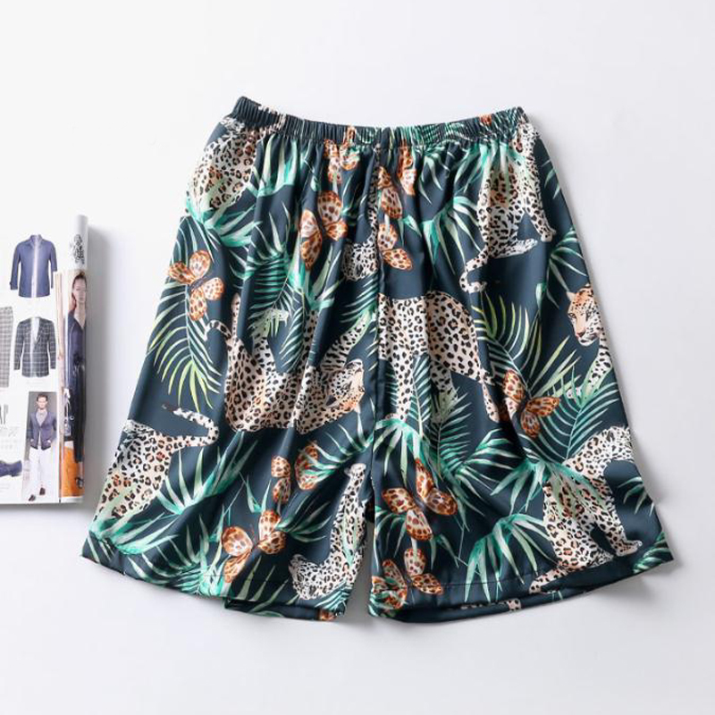 New Arrival Silky Satin Men Sleep Bottoms Summer Casual Home Wear Animal Print Shorts Male Pyjama Short Skeep Pants