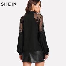 SHEIN Black Long Lantern Sleeve Blouse Elegant Women Tops Office Wear Casual V-Neck Tie Neck Contrast Lace Shoulder Top