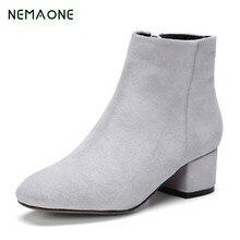 Nemaone Ботильоны из натуральной кожи для Для женщин на низком каблуке Для женщин на платформе полусапожки Винтажные зимние ботинки женский, Черный Каштан