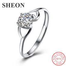 SHEON High Quality 925 Sterling Silver Wedding Ring Princess Square CZ Finger Rings for Women Engagement Jewelry