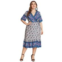 цены на Plus Size Women Holiday BOHO V Neck Short Sleeve Floral Print Beach Midi Dress в интернет-магазинах