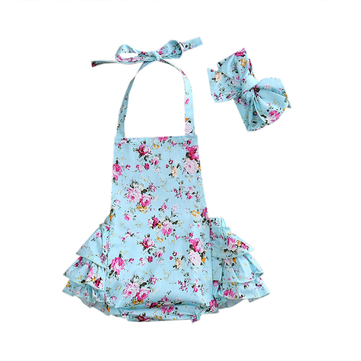 Summer Newborn Infant Baby Girls Floral Tiered Romper Jumpsuit Outfit Sunsuit Playsuit Belt Cotton Clothes kawaii shark print newborn baby girls strap romper jumpsuit one piece sunsuit outfit clothes