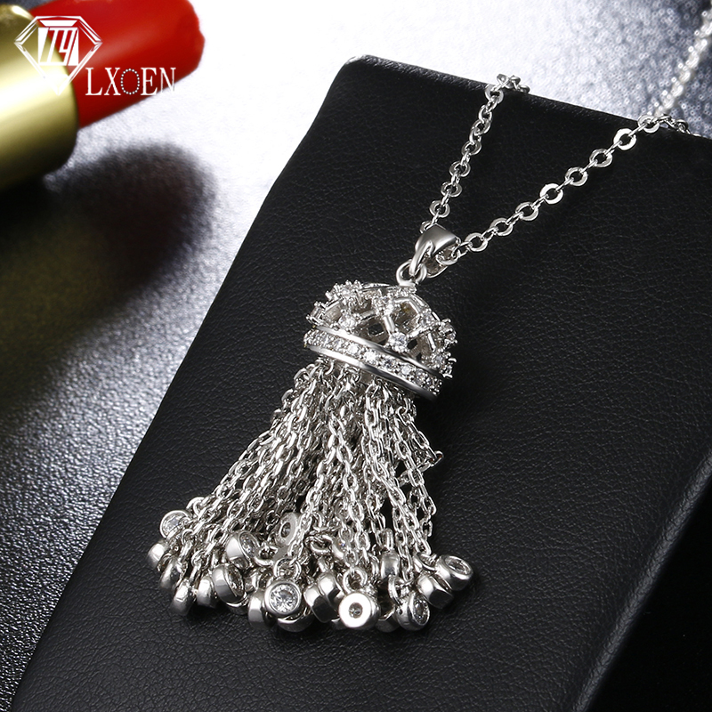 LXOEN Hot Fashion Tassel Long Necklace with Cubic Zirconia Crown Necklaces For Women 2017 Statement Crystal Jewelry collares