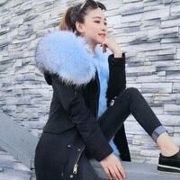 Дропшиппинг 2018 натуральным лисьим мехом парка зимняя куртка, пальто женщин большой натуральный мех енота воротник теплый толстый Лисий Мех