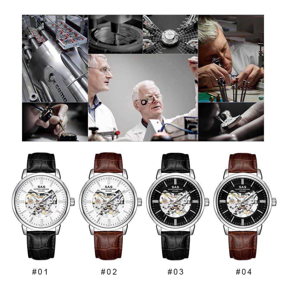 חדש פאנק יוקרה עסקים מכאני שעון גברים של אופנה שלד שעון עור hombre שעונים זוהר Masculino Relogio