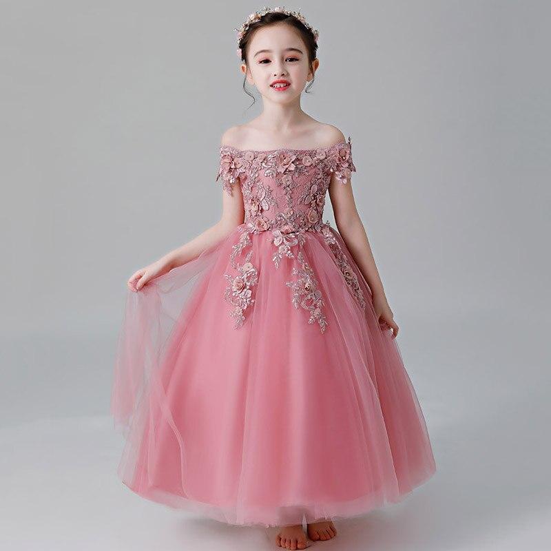 One-length Collar Long Princess Evening Wedding Girl Dresses For Kids Dress First Communion Dress Baby Costume Children Clothing