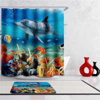 Waterproof One Set 2 Size Polyester Fabric Bath Shower Curtain Bathroom Product Bath Curtain With Carpet