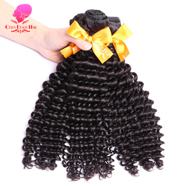 QUEEN BEAUTY HAIR 1PC Malaysian Curly Hair Bundles Remy Hair Weaving Natural Color Human Hair 12 inch To 30 inch Free Shipping