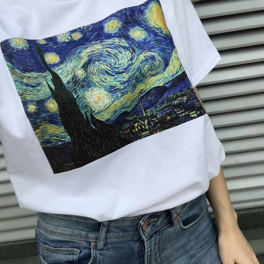Baru Kedatangan Van Gogh Lukisan Fashion Wanita Katun T Shirt Musim Panas Pendek O Leher Ukuran Harajuku Ulzzang T Shirt Wanita
