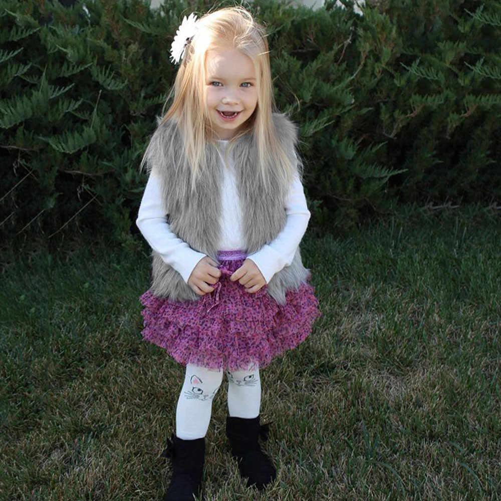 Sonbahar/kış Çocuk Kız Taklit Kürk Yelek Coats Çocuk Tavşan Kürk Yelek Moda Bebek Erkek Sıcak Giysiler Omuz Kısa ceket Giyim