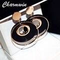 Charmwin большие круглые серьги для женщин модные ювелирные изделия преувеличенный круг цвет золотой деревянные серьги черный красный большие...