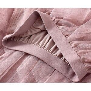 Image 3 - TIGENA Fashion Tutu spódnica z tiulu damska długa, maksi spódnica 2020 koreański śliczne różowe wysokiej talii plisowana spódnica kobieta szkoła słońce spodnica