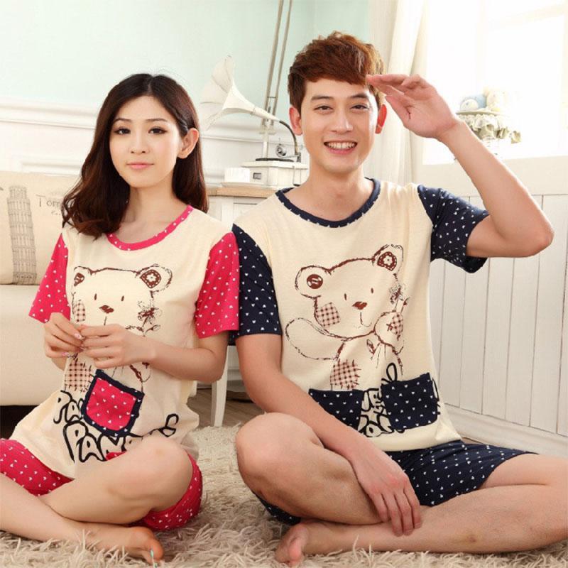 MISSKY Men Women Lovers   Pajama     Sets   Summer Milk Silk Breathable Fashion Casual Home Wear   Set   Female Sleepwear