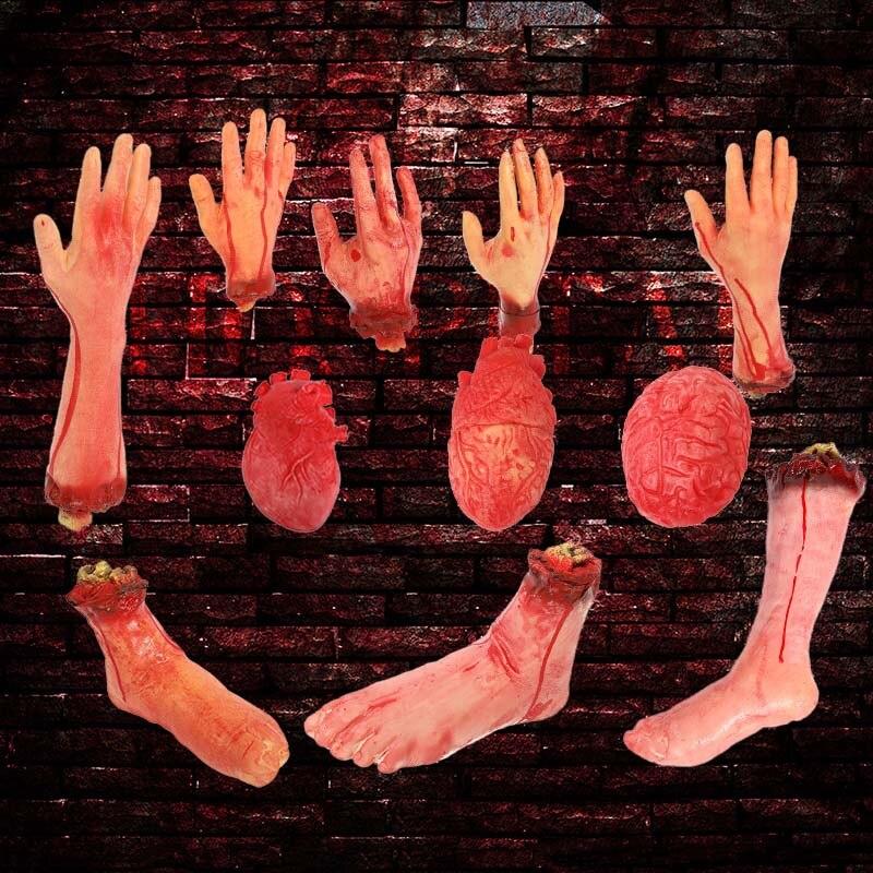 Accesorios sangrientos de Halloween de terror decoración de fiesta embrujada a mano dedo falso pierna pie corazón Halloween casa decoración suministros