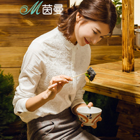 INMAN Literary Style Embroidered Stand Collar Pure Cotton White Shirt Women Long Sleeves Blouse