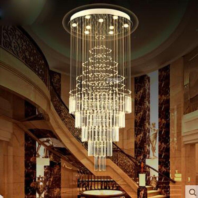 Doppia scalinata Villa scale Spirale lampadario di scala lampada lampadario Lungo lampadario di Cristallo pioggia di meteoriti soggiorno LED