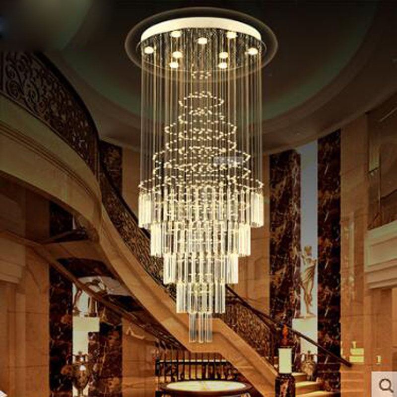 Escada Em Espiral dupla escadaria lustre lâmpada Longo lustre escadas Villa chuva de meteoros lustre de Cristal sala LEVOU