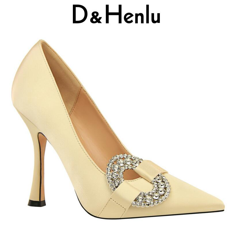 D&Henlu Womens Rhinestone High Heel Shoes Woman Basic Heels Women Heeled Shoes Pointed Toe Ladies Shoe Pumps 2018 Zapatos Mujer 44mm black sterile dial green marks relojes 6497 mens mechanical hand winding watch luminous armbanduhr cm164bk