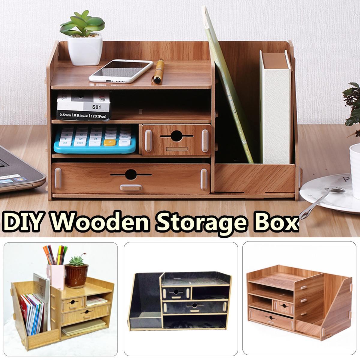 Boîte de rangement en bois bricolage avec tiroir cosmétiques organisateur bureau à domicile bureau tiroir maquillage organisateur nouveau