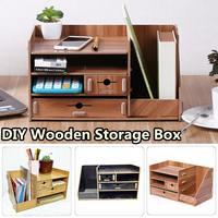 Wooden DIY Storage Box With Drawer Cosmetics Organizer Desktop Home Office Desktop Drawer Makeup Organizer New