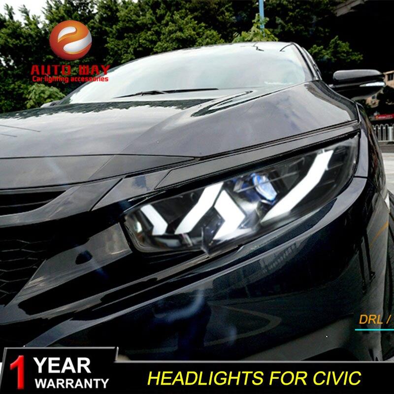 Voiture style phare étui pour Honda CIVIC X G10 MK10 Type Bugatti phares LED feux de route bi-xénon faisceau brouillard ange yeux