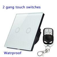 Дистанционное управление Touch Настенные переключатели Панель свет настенного водонепроницаемый хрусталя 2 банды 1 способ 433mhz. eu/Великобрита...