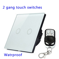 Remote Control Touch Switches Panel Light Wall Waterproof Crystal Glass 2 Gang 1 Way 433MHz EU
