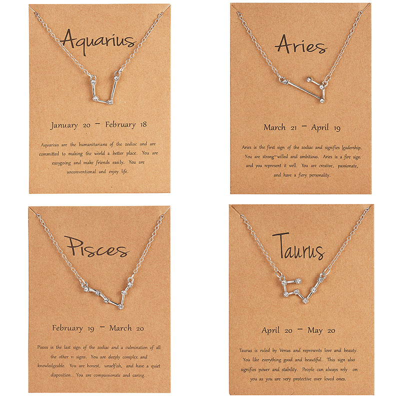 12 Constellation Silver Necklace with card Zodiac Sign Rhinestone Birthday gift Galaxy for Women