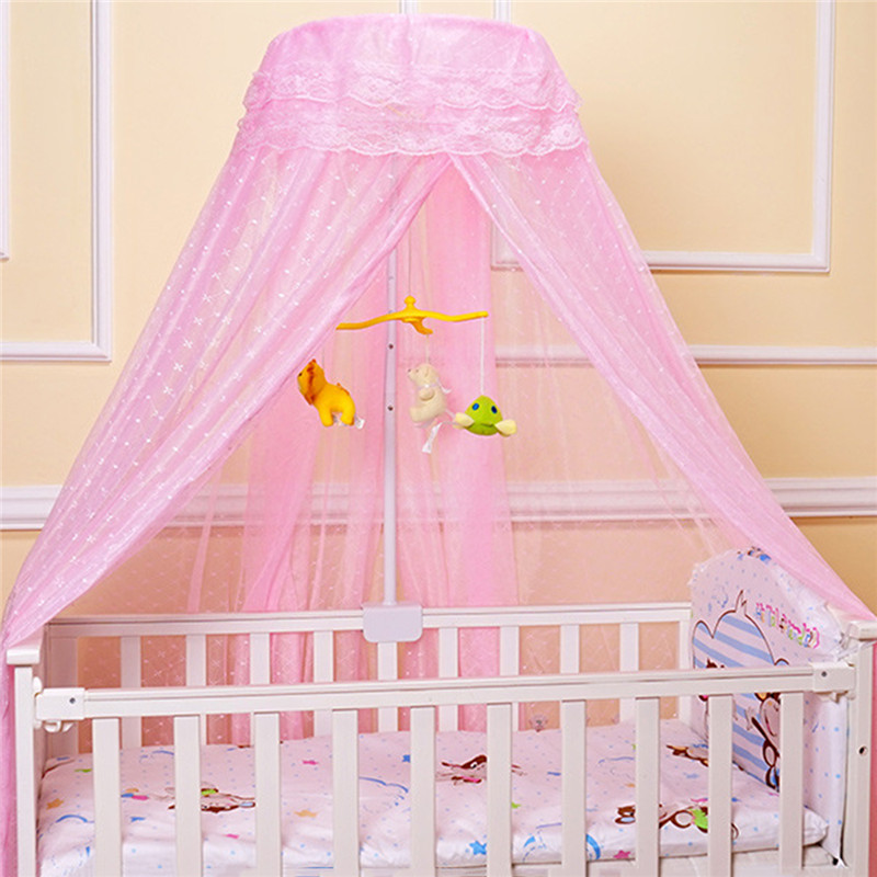 coxeer Round Baby Mosquito Net Romantic Printed Hung Dome Mosquito Netting Bed Canopy For Kids Bedroom Nursery With 3 Colors