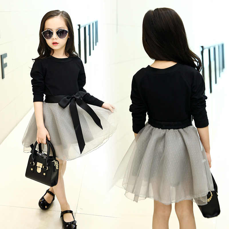 Kızlar yeni pamuk uzun kollu elbise seti Kız siyah tişört artı gazlı bez elbise takım elbise Kız Moda Prenses elbise Seti