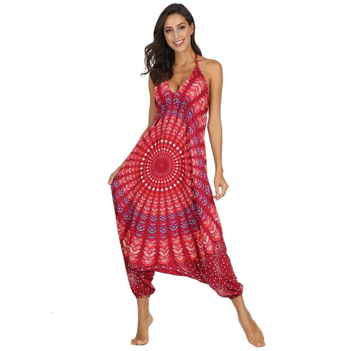 2019 Этническая Мандала Комбинезоны женские на тонких бретельках богемные цыганские тайские одежда комбинезоны праздничные пляжные боди Mujer комбинезоны